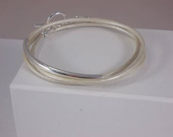 Cream metallic leather bracelet, leather friendship bracelet, silver tube bracelet, wrap bracelet, pearl leather bracelet. BFF