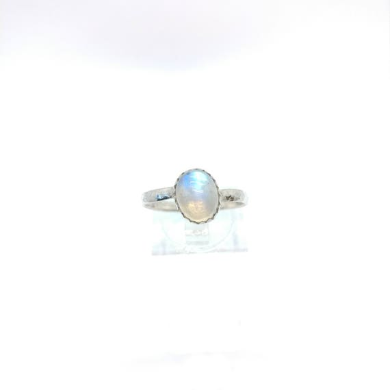 Simple Moonstone Ring | Rainbow Moonstone Ring | Sterling Silver Ring Sz 9 | Simple White Ring | June Birthstone Ring | Blue Moonstone