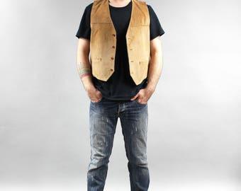 80s Vintage Men's Brown Biker Vest Genuine Leather Motorwear Crop Metal Waistcoat Button down Steampunk Vest Sleeveless Jacket Large L