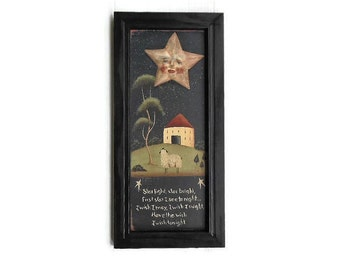 Star Light, Star Bright, Wish Upon a Star, Primitive Decor, Art Print, Wall Decor, Handmade, 23 X 11, Custom Wood Frame, Made in the USA