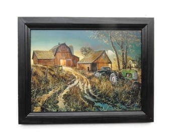 Country Home Decor, Diamond in the Rough, Jim Hansel, Tractor and Barn, Wall Hanging, Handmade, 19 x 15 Custom Wood Frame, Made in the USA