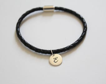 Leather Bracelet with Sterling Silver Cursive E Letter Charm, Bracelet with Silver Letter E Pendant, Initial E Charm Bracelet, E Bracelet
