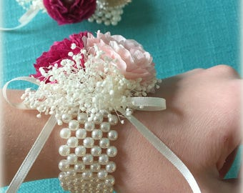 Coffee Filter Flower Wrist Corsage/ Wedding Corsage/ Paper Corsage/ Pearl Bracelet Corsage