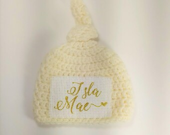Newborn Girl Hat, Personalized Newborn Hat, Newborn Name Hat, Baby Name Hospital Hat, Personalized Newborn Hospital Hat, Newborn Hat, Ivory