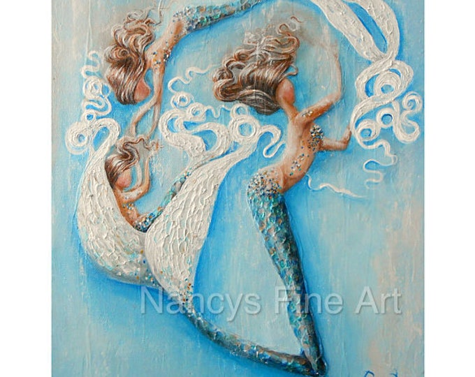 Original mermaid painting, Three mermaids wall art, mermaid decor, original fantasy painting by Nancy Quiaoit.
