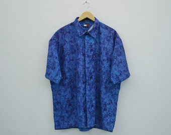 Tommy Hilfiger Shirt Men Size XL Vintage Tommy Jeans Button Up Shirt Hilfiger Vintage Hawaiian Shirt
