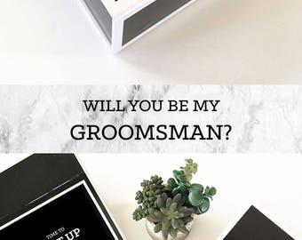 Will You Be My Groomsman Box Groomsmen Gift Groomsmen Proposal Groomsman Gift Box Monogram Gifts for Men (EB3193BPW) EMPTY inside