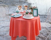 Coral linen tablecloth - wedding tablecloths - Beach wedding table decor - Peach wedding table top - Salmon tablecloth - coral table cover