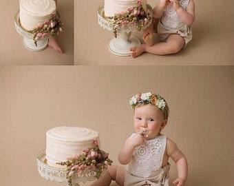 Girls Rompers Boho Baby Baby Romper Baby Girl Clothing Bohemian Vintage Style Doily Romper Playsuit Cream Toddler Newborn White Linen Haute