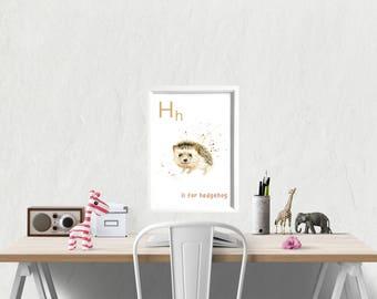 nursery decor, nursery art, animal prints for nursery, animal nursery, animal alphabet, educational posters, kids room prints, childrens