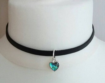Silver Plated Leather Band Choker with Abalone Heart Pendant