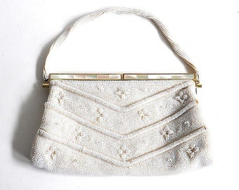 Vintage Beaded White Mother of Pearl Bag