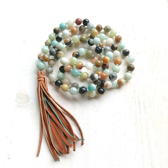 Leather Tassel Mala Beads, Amazonite Mala Necklace, 108 Bead Mala, Boho Chic Mala Beads, Yoga Mantra Mala, Hand Strung Mala Beads
