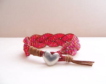 Pewter Heart Red Beaded Braided Leather Wrap Cuff Bracelet, Heart Bracelet, Heart Jewelry, Leather Jewelry, Love Jewelry, Heart Lover Gift