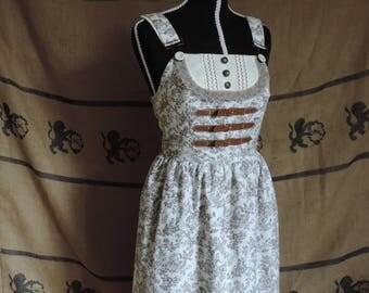"""Long dress """"Severine"""", steampunk, toile de Jouy, mori girl, boheme, country"""