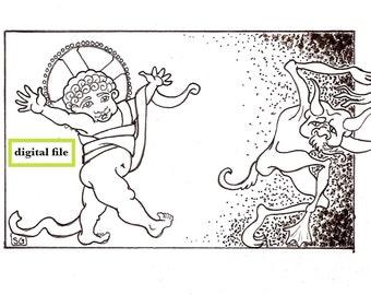 ON SALE!! Christ Child digital file, Christmas card design, downloadable pen & ink drawing