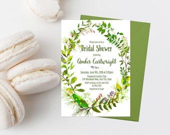 Greenery Bridal Shower Invitation Printable Spring Foliage Bridal Shower Invite Greenery Wreath Bridal Shower Invite Woodland Shower 247