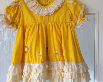 Vintage Toddler Yellow Dress Frills Size 2 Polka Dots White Bow Baby Girl