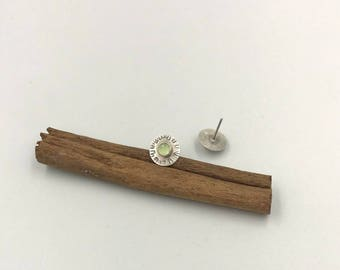 Green Aquamarine Studs, Textured Silver Studs, Gemstone Silver Studs, Aquamarine Post Earrings