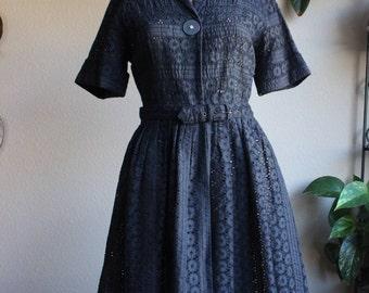 Vintage 50s Black Lace Belted Dress