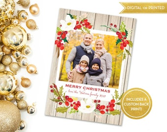 Rustic Christmas Cards / 2017 Photo Card / Printable or Printed / Holiday Card Template / Rustic Floral Wood Watercolor / HC08