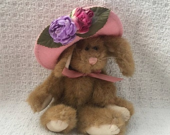 Boyds Collection Brown Bunny with Pink Floral Hat, Jointed Brown Bunny with Pink Felt Hat, Brown Jointed Rabbit with Rose Decorated Hat