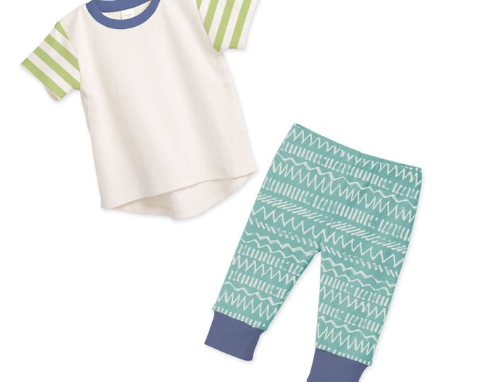 SUMMER SALE! Baby Boy Outfit, Baby Boy Tshirt & Pants, Baby Boy Pants, Baby Shower Gift, Chevron, Green and Blue, Tesababe TL120IYIG0000