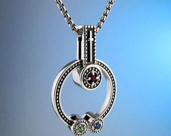"""Mothers Birthstone """"Faith"""" Cross Necklace, Children Birthstone Necklace, Family Jewelry, Mothers Necklace, Custom Made"""