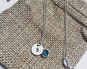 Personalised Sterling Silver Initial and birthstone necklace, personalised, necklace, initial necklace, birthstone charm,gift woman, gifts