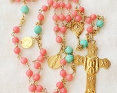 Rosary - Holy Face, Coral & Amazonite, Marie Madeleine and Saintes-Maries - 18K Gold Vermeil