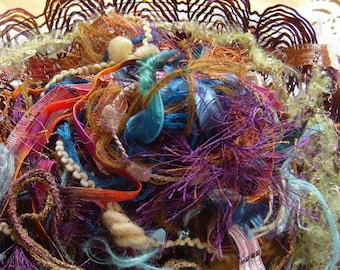 29 yds. SOUTHWEST Fiber art yarn bundle/inspiration pack/weaving/craft yarn/dreamcatcher/yarn destash/fiber art materials/mixed trim bundle