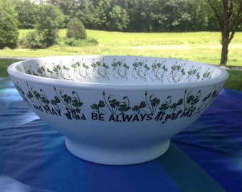Irish Verse and Botanical Shamrock Flower Pot Dish Garden, May the LUCK of the IRISH be with Ye! Unique St. Patrick's Day Planter, Large Pot