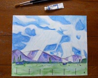 Ink & watercolour painting, 8x10 mountain landscape, unframed drawing on paper, sunbeams sky art, NZ farm cows, wall art, blue green decor