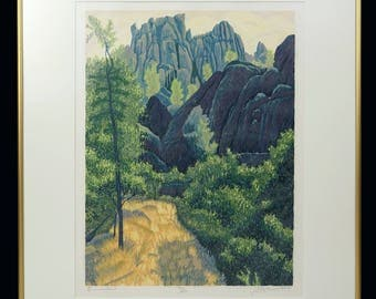 1985 Pinnacles National Park Color Lithograph Limited Edition 90/150 Vintage Art Signed