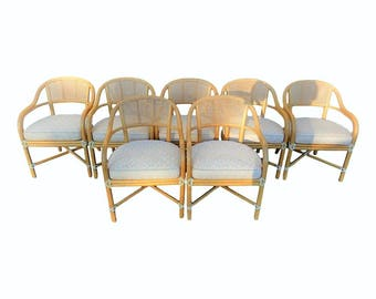 VVH Vintage Set Of 6 McGuire Cane Back Rattan Dining Chairs Arm Chairs With  Rawhide Bindings
