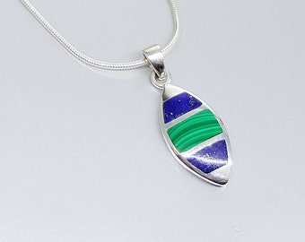 Pendant Lapis Lazuli and Malachite with Sterling silver and chain - inlay work - gift idea Christmas- pendant dual color - blue and green
