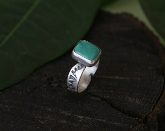 Natural Turquoise ring, turquoise jewelry, handmade ring, gift for her, Arizona turquoise, sterling silver ring, square ring, Size 8