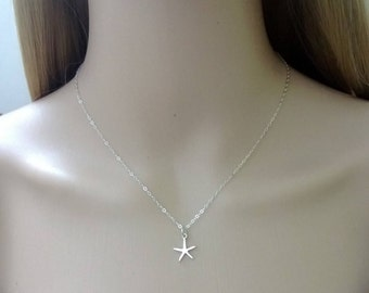 Sterling silver starfish necklace; sterling silver ocean necklace; sterling silver beach necklace; simple silver necklace