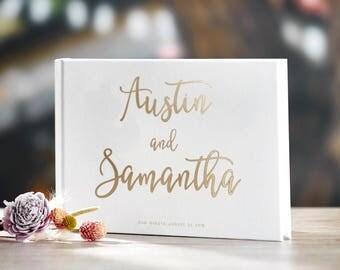 Gold Foil Wedding Guest Book Alternative Custom Wedding Guestbook Rustic Guest Book Unique Wedding Guest Book Gold Foil Ideas Book #17