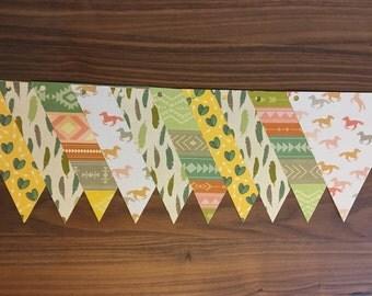 Garland paper horses, cactus, feathers, ethnic