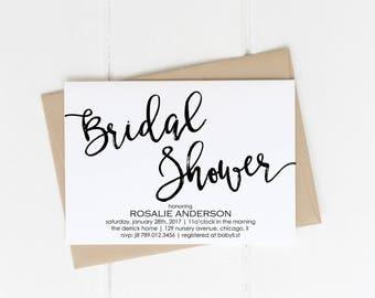 Bridal Shower Invitation Printable, Black & White Modern Wedding Shower the Bride, Bachelorette Party, Summer Bridal Shower, Classy Couples