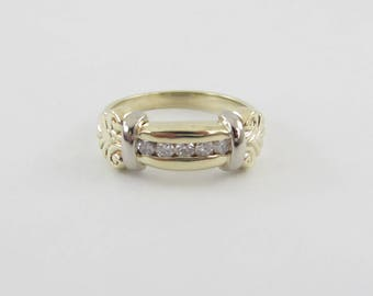 14k Yellow And White Gold Diamond Band, 14k Gold Diamond Wedding Ring, Two Tone Band