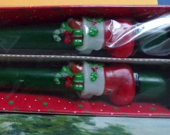 """Candles 10"""" Decorated Taper Candles - Hand Painted -Caldor"""