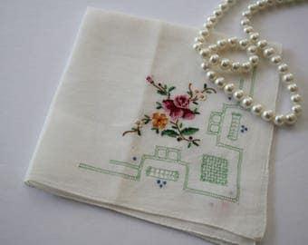 VINTAGE Antique Handkerchief ladies /women's handkerchief, off-white embroidered floral, cut-work quality hankie for gift Mom /Bride /