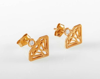 Rose gold Diamond studs, Diamond stud earring, gold earring,diamond earring,diamond shaped earrings,Diamond silhouette earrings