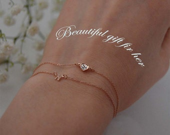Mother's day gift Diamond heart bracelets,14K initial Gemstone bracelet,Solid gold letter bracelets,Women diamond bracelets.