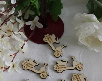 Classic VESPA SCOOTER Personalised Wooden Wedding Table Confetti Scatter Favour