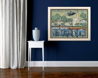 Wall Art Print Blue Painting Impressionist Style Modern Art Cityscape Painting Abstract Art Print Contemporary Art Home Decor Print Canvas