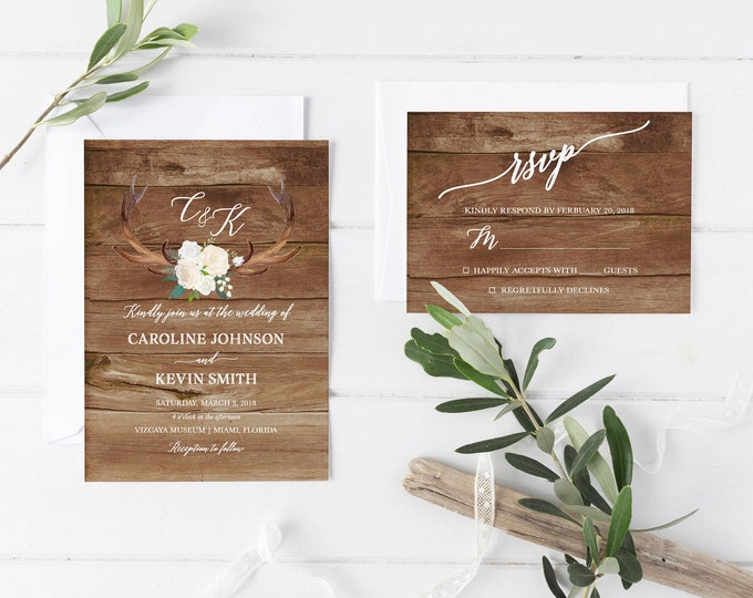 Rustic Wedding Invitation, Antler Wedding Invitation, White Floral Wedding Invite, Floral Antler Printable Wedding Invitation Suite