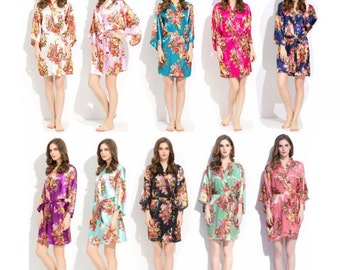 Floral Bridesmaid Robes, Free Initials, Silk Robes, Bridal Robes, Bride Robe, Bridal Party Robes, Wedding Robes, Kimono Robe, Satin Robe
